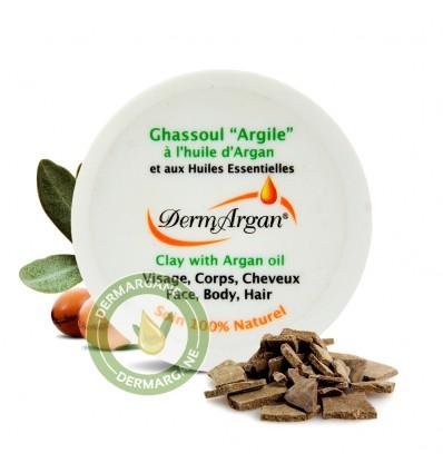 Ghassoul 'Argile' à l'huile d'Argan et les huiles essentielles naturelles - Pôt de 125 ml
